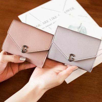 kulit mini women leather wallet kancing button G