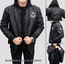 Jaket Bomber Pria BGSR Hoodie Black