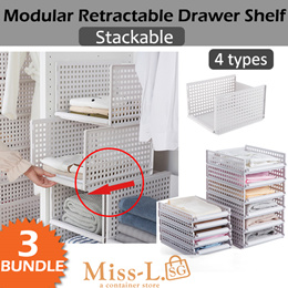 SET OF 3!! STAVE-MODULAR RETRACTABLE DRAWER SHELF/Design Your Own Space Saving Storage Rack