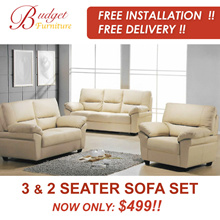 FREE DELIVERY!! 3 SEATER AND 2 SEATER SOFA SET. TEXTURED LEATHER. COFFEE TABLE ADD-ON