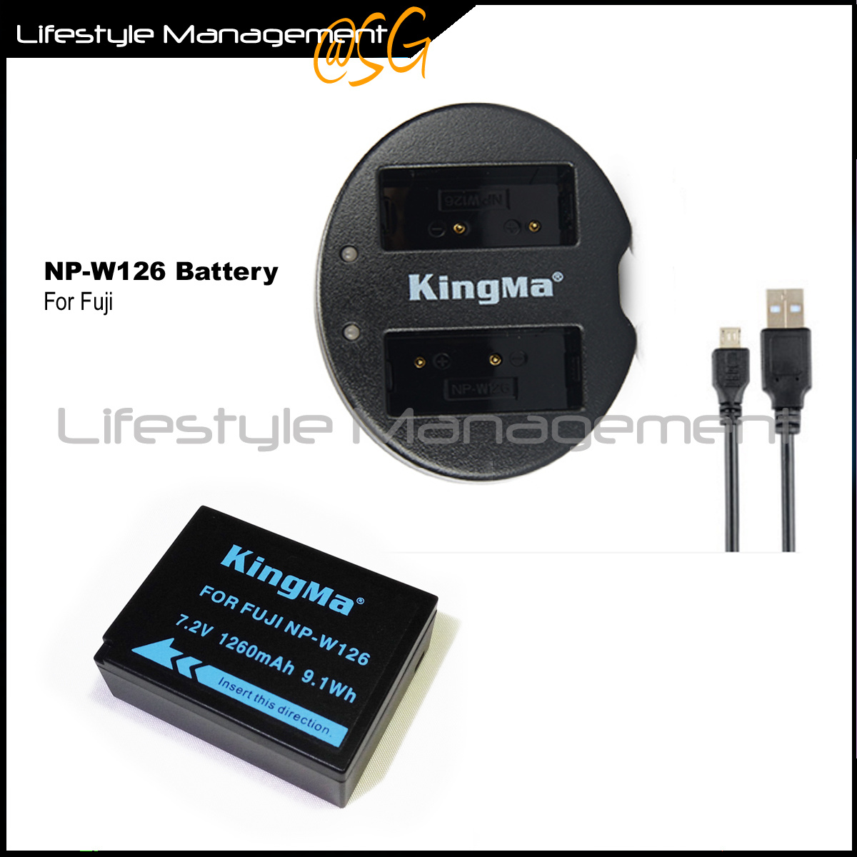 Qoo10 Fujifilm Np W126 Battery Dual Usb Charger For Fuji Camera Fit To Viewer Prev Next