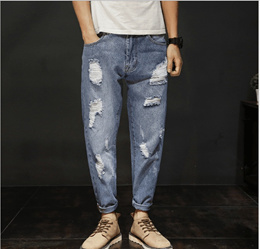 7f379b352c5 Hot Fall and Winter NEW mens damage jeans loose feet Haren pants ripped  jeans