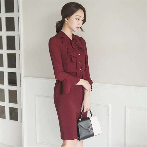 DRI367ラグジュアリーリボンフリルのワンピースnew 無地ワンピース/ワンピース/韓国ファッション