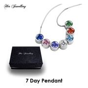 Swarovski® Crystals - 7 Days Pendants Set  (18K White Gold Plated) Her Jewellery