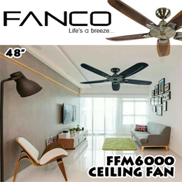 FANCO FFM6000 Ceiling Fan 48Inch / Available in assorted colours / With 1 Year Warranty