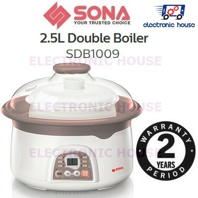 Sona Singapore★ Sona SDB1009 2 5L Double Boiler ★ (2 Years Warranty On  Electrical Parts)