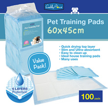 [100pcs Value Pack] Ultra-absorbent Extra Large Pets Training Pads 60x45cm