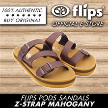 ★Authentic [Flips™]★MAHOGANY Z-Strap Flips Pods Sandals★Unisex Sandal/Contoured Footbed/Comfort
