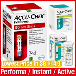 [Roche] _  Accu Chek Performa  / Instant / Active Test 50 Strips  / Lowest Prcice in SG