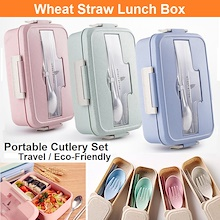 BeiHe Wheat Straw Microwaveable Stainless Steel Lunch Box Utensils Food Container Travel Cutlery
