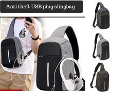 Anti-theft slingbag with USB Port - Crossbody bag - Sling Bag -Travelbag - Ready stock
