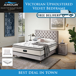 AMOUR BRAND QUEEN SIZE VICTORIAN UPHOLSTERED VELVET BED FRAME/FREE DELIVERY/10 YEARS WARRANTY