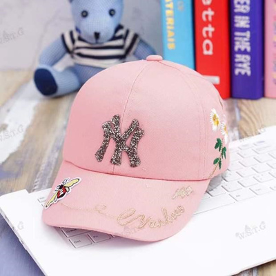 a14571ea5a5 Spring and summer MLB children baby crothet NY bending along the peaked cap  embroidery Baseball Cap