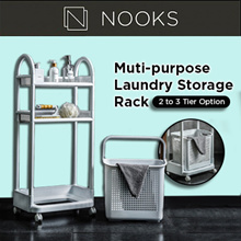 Big Capacity Multi-Purpose Laundry Storage Rack | 2 or 3-Tier Option | Roller Trolley | Movable