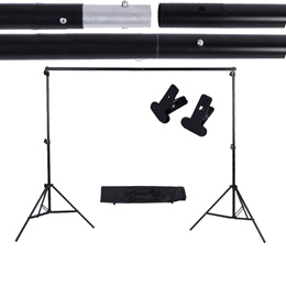 SG 2 * 3m / 6.6 * 9.8ft Adjustable Background Support Stand Photo Backdrop Crossbar Kit with two Cla