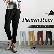 OBDESIGN ★ ORANGEBEAR ★ ELASTIC WAIST PLEATED LONG PANTS ★ S-XXXL SIZE ★ PLUS SIZE ★ VARIOUS COLOR ★