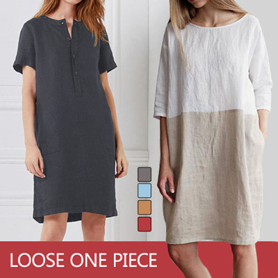 e1edc17bb 【BUY 2 FREE SHIPPING】NEW loose solid cotton stitching dress round neck  cropped sleeves