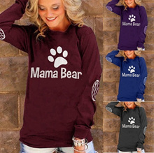 New Spring Autumn Women Mama Bear Letter Printing Elbow Grid Printing T-shirt Casual Pullover Top