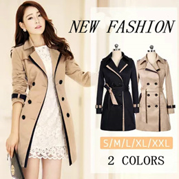 Trench Coat For Women 2018 Fashion Turn-down Collar Double Breasted Contrast Color Long Coats