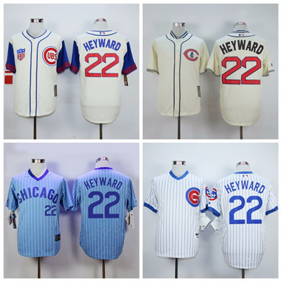 wholesale dealer e78d8 5f002 Jason Heyward Jersey Chicago Cubs Throwback Baseball Shirt Size Small ~ 3XL  Cream White Blue Free Shipping