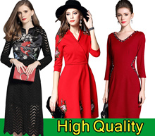Europe Korean high-end fashion dress/Banquet/Cocktail dress/Office occupation/elegant
