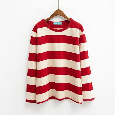 456ec5558 2017 spring new Korean ulzzang loose striped long sleeve t-shirt girls  Harajuku BF wild