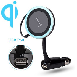 Magnetic Qi Wireless Charger Car USB Cigarette Lighter Holder Phone Mount Stand for Samsung Galaxy S