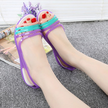 Quanzixuan 2018 Women s Sandals Summer Shoes Woman Casual Rainbow Croc Jelly Shoes Flat Sandals