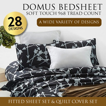 DOMUS Soft Touch 968 Thread Count Fitted Bed sheet Set  OR Quilt Cover Set / 10 DESIGN