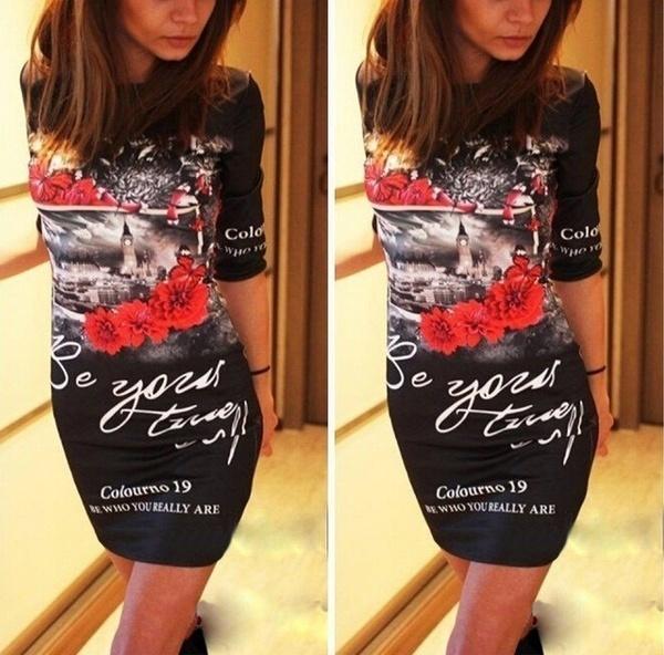 レディース長袖プリントかわいいミニボディコンドレスVestidos夏スタイルの女性パーティーナイトクラブドレス