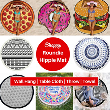 Shoppy Hippie Round beach throw yoga pool towel mat. Great for picnic beach outdoor