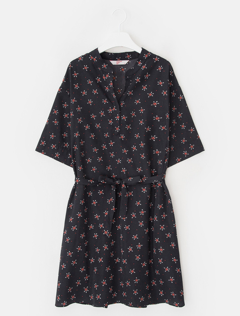 8SECONDS Flower Henley Neck Midi Dress - Navy