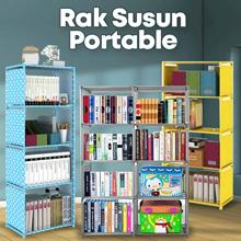 HPR081  Rak buku rak portable rak serbaguna lemari buku 2 sisi murah
