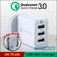 Qualcomm Quick Charge 3.0 USB Wall charger / 3 port / 4 port with QC 3.0 port / UK Plug
