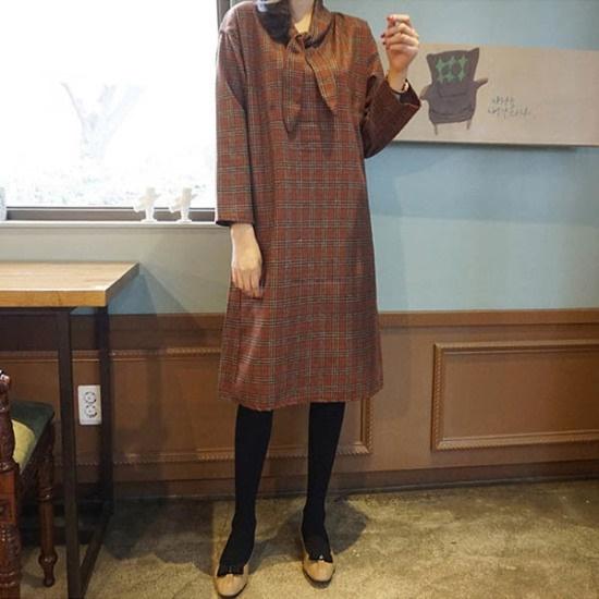 モニカルームチェックスカーフopsワンピース 綿ワンピース/ 韓国ファッション
