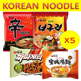 [NONGSHIM] korea noodle 5ea bundle bulk ramen RTA spicy pepper ramyun with rice