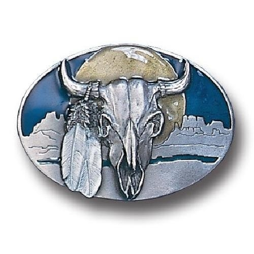 Native American Indian Buffalo Skull w// Feathers Metal Belt Buckle