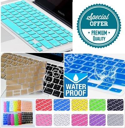 for Mac Book Silicone Keyboard Cover for MacBook Air Pro Retina 13 15 17 Kr Korean Keyboard Laptop Skin Film-SkyBlue