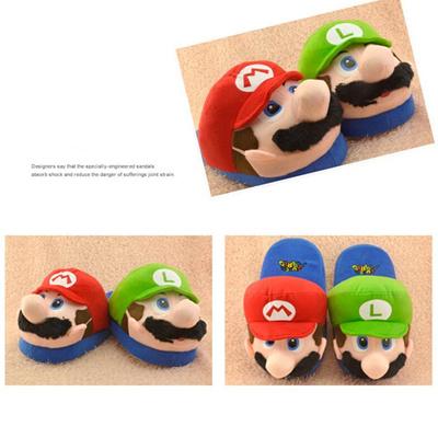 bda8b0cfea6 Super Mario Kids Adult Slippers Toys Home Shoes Cotton Plush Winter Home  Woman Man Luigi Slipper