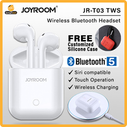 Joyroom 5.0 Bluetooth Earpod With Wireless Charging Case.FREE SILICON POUCH Carbine Hook (White)