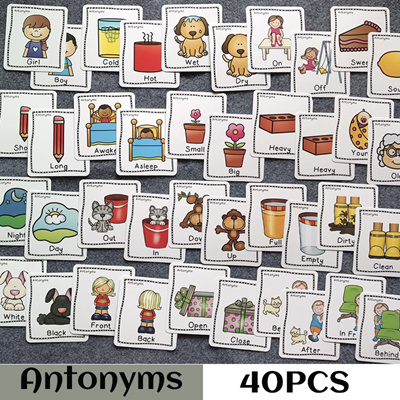 80PCS/set Rich Vocabulary Synonyms Antonyms English Learning Card Games  Puzzles for Kids Children Ea