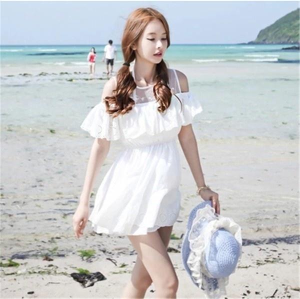 レディースワンピース ビーチワンピース 砂浜 フリル ファッション ハイセンス 着心地いい おしゃれ 夏 スリム レディースワンピース