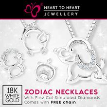 ABC ZODIAC 123 18K💖white gold plated  pendant wz fine cut Hearts Arrows Cubic Zirconia QXPRESS FREE