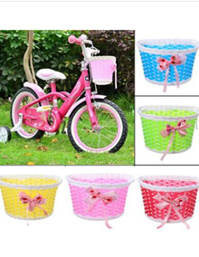 Bike Flowery Front Basket Bicycle Cycle Shopping Stabilizers Children Kids Girl