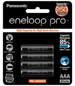 Panasonic or Fujitsu Eneloop Pro AA and AAA NiMH Pre-Charged Rechargeable XX Battery