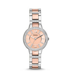 Fossil Virginia Rose Dial Two-tone Ladies Watch ES3405. Free Shipping!