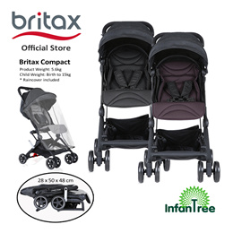 Britax Compact Lightweight Stroller - Black /  Dark Berry