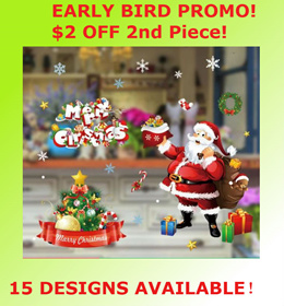 [$4 off 2nd piece!] Santa Claus/Christmas Tree/Snowman for Wall/Window Decor Sticker Big Decal