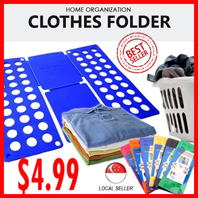 Qoo10 flip fold stack folding clothes storage household for Innovative household items