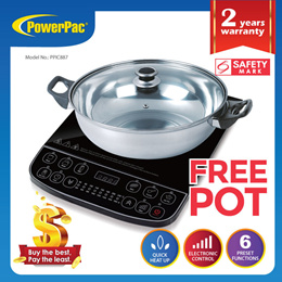 PowerPac Steamboat Induction Cooker with Stainless Steel Pot With Overheat Protection (PPIC887)